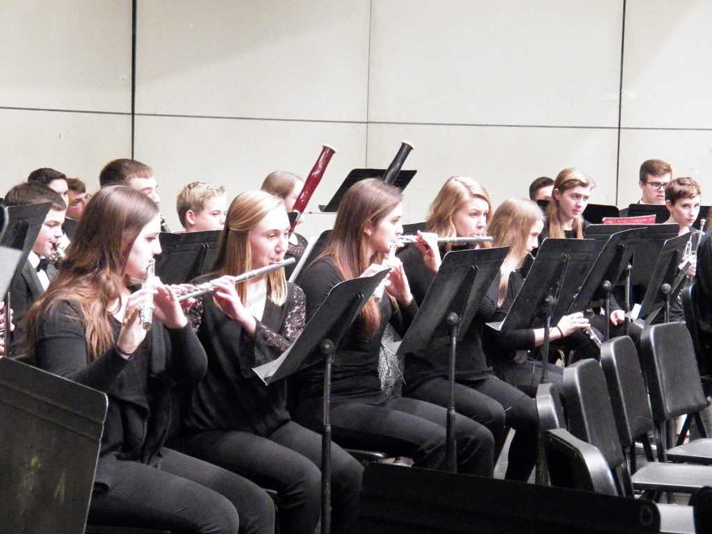 Flute players at concert