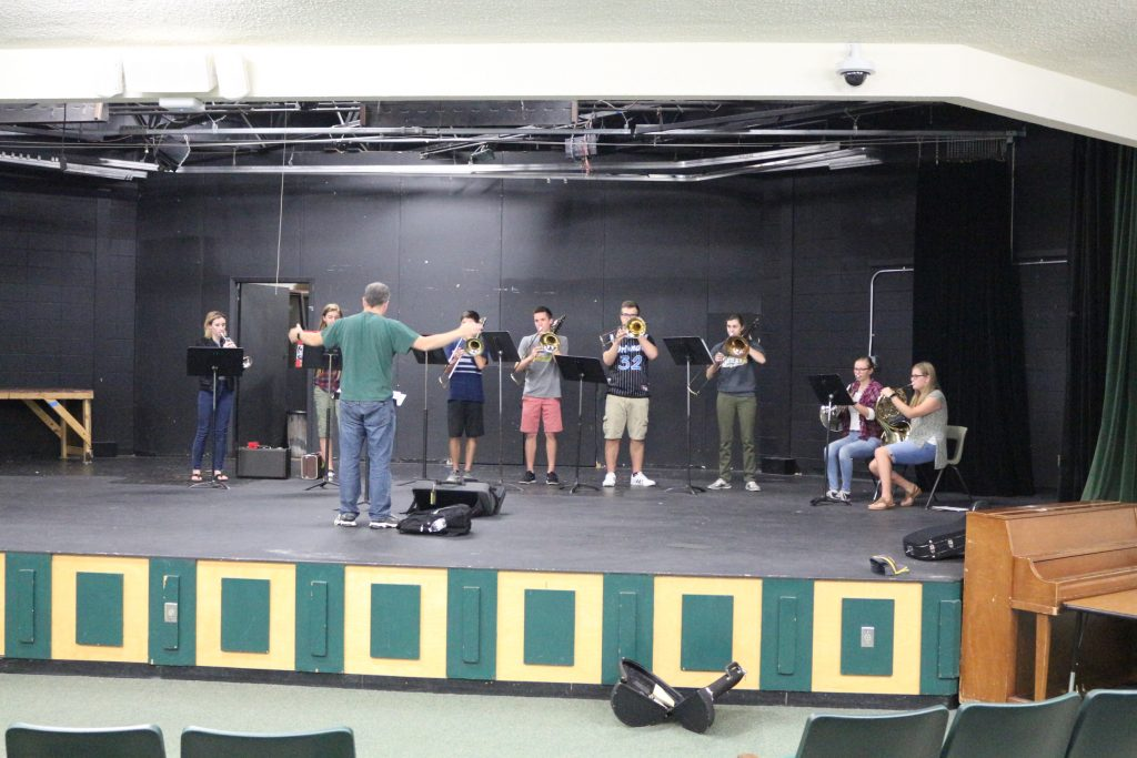 OYS practice with brass instruments.